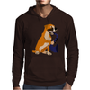 Awesome Fawn Boxer Dog Playing Saxophone Mens Hoodie