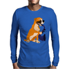 Awesome Fawn Boxer Dog Playing Saxophone Mens Long Sleeve T-Shirt