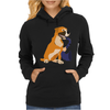 Awesome Fawn Boxer Dog Playing Saxophone Womens Hoodie