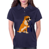 Awesome Fawn Boxer Dog Playing Saxophone Womens Polo
