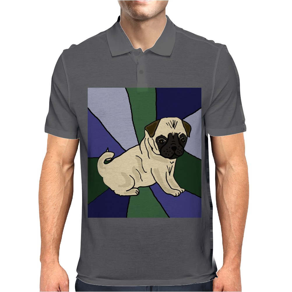 Awesome Fawn Pug Puppy Dog Abstract Art Mens Polo