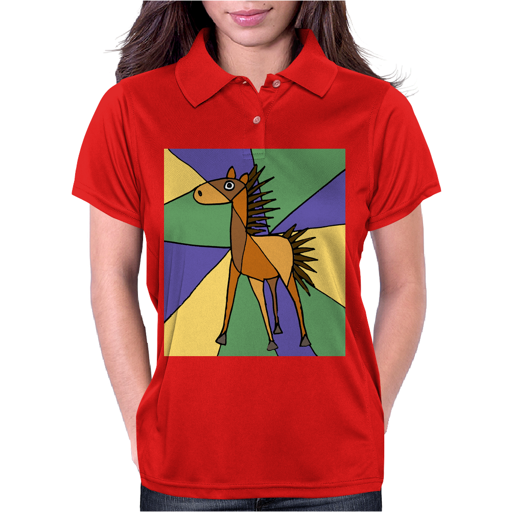 Awesome Folk Art Horse Original Art Womens Polo