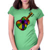 Awesome Fun Colorful Guitar Folk Art Original Womens Fitted T-Shirt