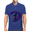 Awesome Funky and Funny Surfer Dude on Wave Art Mens Polo