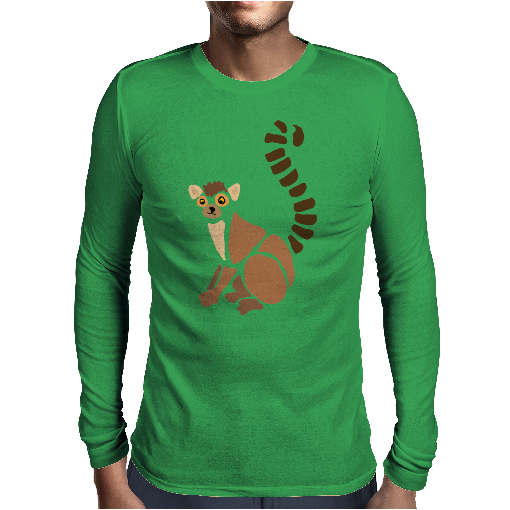 Awesome Funky Funny Lemur Abstract Art Mens Long Sleeve T-Shirt