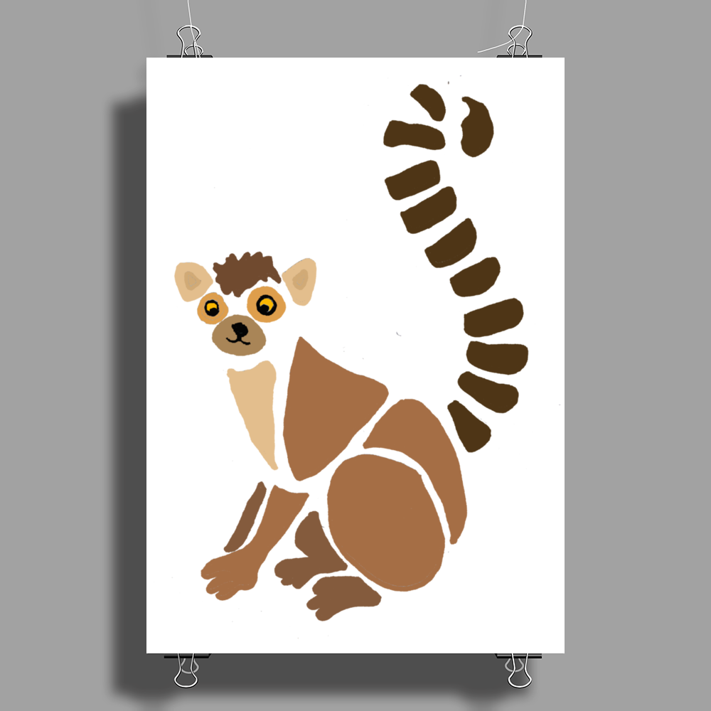 Awesome Funky Funny Lemur Abstract Art Poster Print (Portrait)
