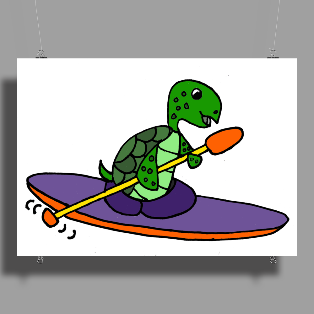 Awesome Funky Kayaking Sea Turtle Poster Print (Landscape)