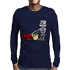Awesome Funky Robot Pushing Lawn Mower Mens Long Sleeve T-Shirt