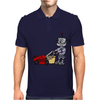Awesome Funky Robot Pushing Lawn Mower Mens Polo