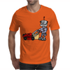 Awesome Funky Robot Pushing Lawn Mower Mens T-Shirt