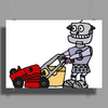 Awesome Funky Robot Pushing Lawn Mower Poster Print (Landscape)