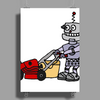 Awesome Funky Robot Pushing Lawn Mower Poster Print (Portrait)