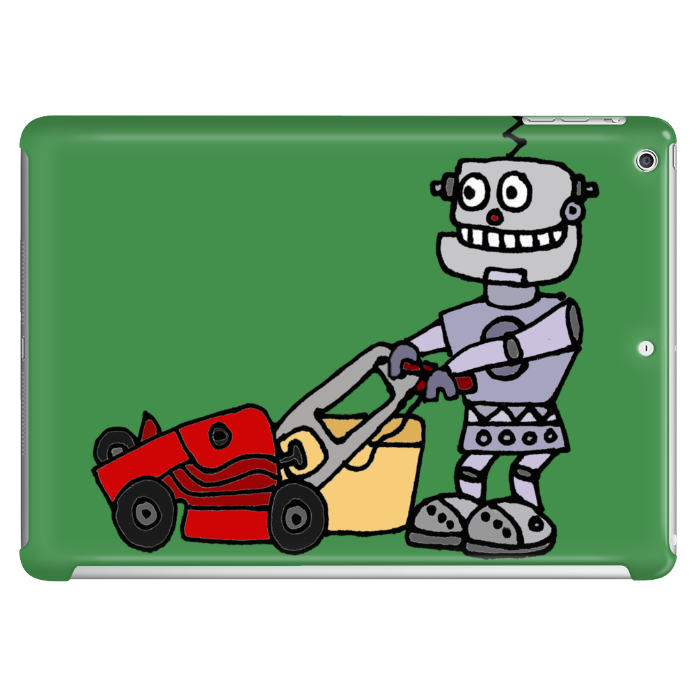 Awesome Funky Robot Pushing Lawn Mower Tablet
