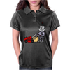 Awesome Funky Robot Pushing Lawn Mower Womens Polo