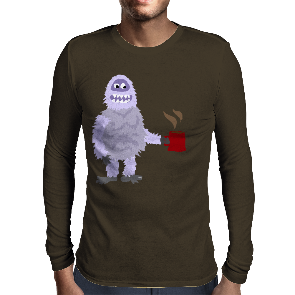 Awesome Funny Abominable Snowman Drinking Coffee Mens Long Sleeve T-Shirt
