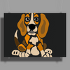 Awesome Funny Abstract Ar Beagle Puppy Dog Poster Print (Landscape)