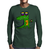 Awesome Funny Alligator in Sunglasses and using Mobile Phone Mens Long Sleeve T-Shirt