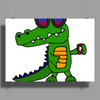 Awesome Funny Alligator in Sunglasses and using Mobile Phone Poster Print (Landscape)