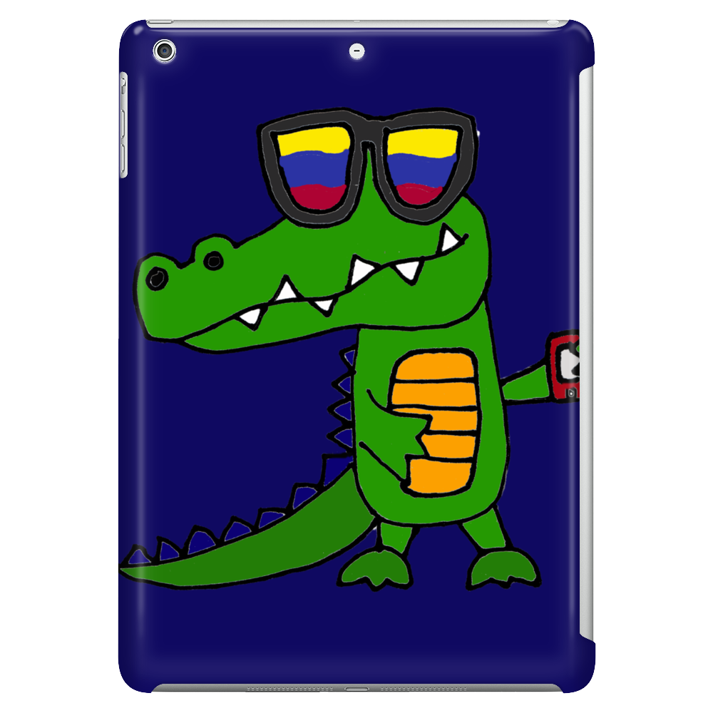 Awesome Funny Alligator in Sunglasses and using Mobile Phone Tablet