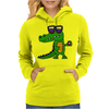 Awesome Funny Alligator in Sunglasses and using Mobile Phone Womens Hoodie