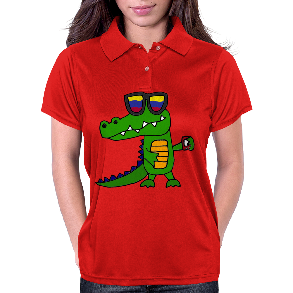 Awesome Funny Alligator in Sunglasses and using Mobile Phone Womens Polo