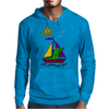 Awesome Funny Alligator on Colorful Sailboat Mens Hoodie