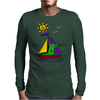 Awesome Funny Alligator on Colorful Sailboat Mens Long Sleeve T-Shirt