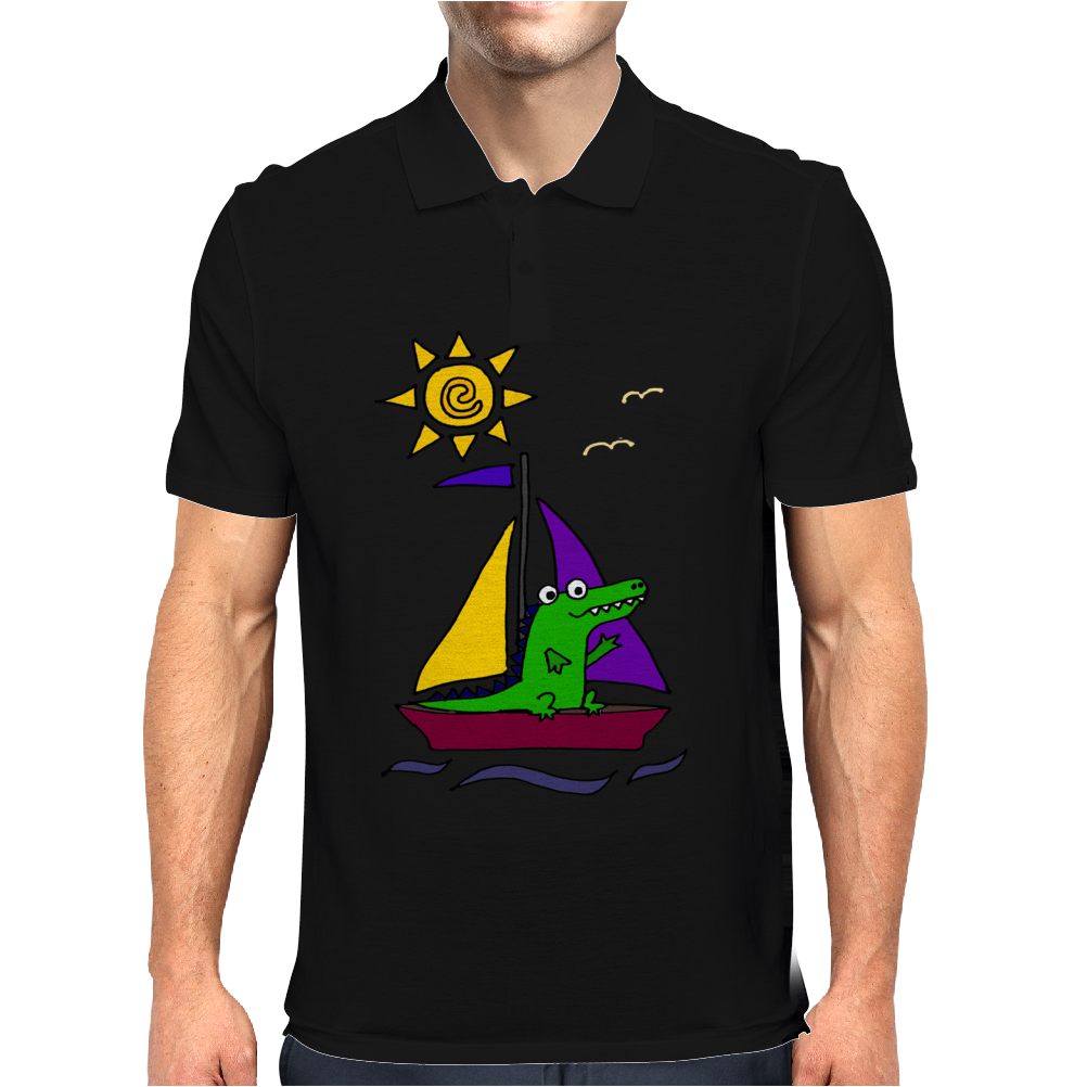 Awesome Funny Alligator on Colorful Sailboat Mens Polo