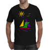 Awesome Funny Alligator on Colorful Sailboat Mens T-Shirt