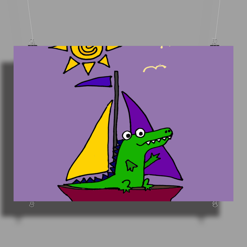 Awesome Funny Alligator on Colorful Sailboat Poster Print (Landscape)