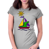 Awesome Funny Alligator on Colorful Sailboat Womens Fitted T-Shirt