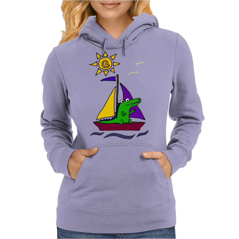 Awesome Funny Alligator on Colorful Sailboat Womens Hoodie