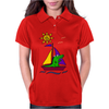 Awesome Funny Alligator on Colorful Sailboat Womens Polo