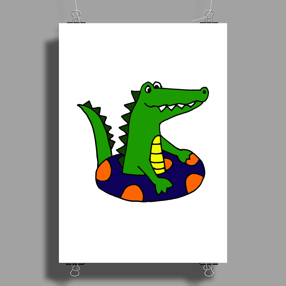 Awesome Funny Alligator Tubing Poster Print (Portrait)