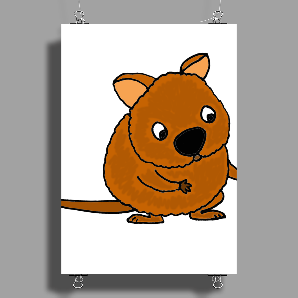 Awesome Funny Australian Quokka Taking Selfie Poster Print (Portrait)