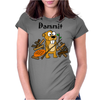 Awesome Funny Beaver and Dam Cartoon Womens Fitted T-Shirt