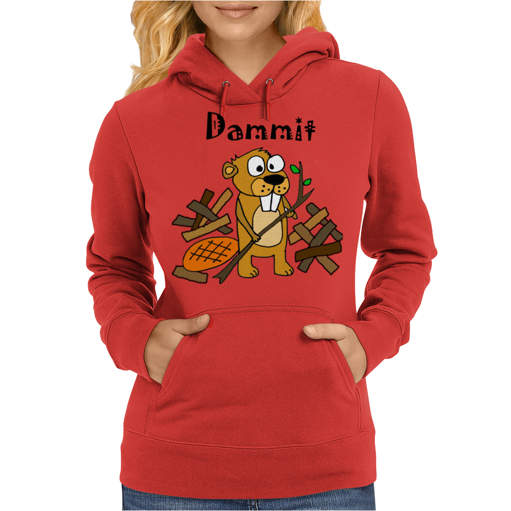 Awesome Funny Beaver and Dam Cartoon Womens Hoodie