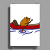 Awesome Funny Beaver in Red Canoe Poster Print (Portrait)