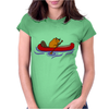 Awesome Funny Beaver in Red Canoe Womens Fitted T-Shirt