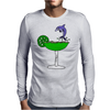 Awesome Funny Blue Dolphin Leaping from Margarita Glass Mens Long Sleeve T-Shirt