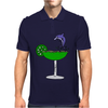 Awesome Funny Blue Dolphin Leaping from Margarita Glass Mens Polo