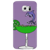 Awesome Funny Blue Dolphin Leaping from Margarita Glass Phone Case