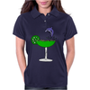 Awesome Funny Blue Dolphin Leaping from Margarita Glass Womens Polo