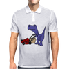 Awesome Funny Blue T-Rex Dinosaur Pushing Red Lawn Mower Mens Polo