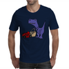 Awesome Funny Blue T-Rex Dinosaur Pushing Red Lawn Mower Mens T-Shirt
