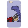 Awesome Funny Blue T-Rex Dinosaur Pushing Red Lawn Mower Phone Case