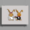 Awesome Funny Bride and Groom Rabbit Cartoon Poster Print (Landscape)