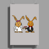 Awesome Funny Bride and Groom Rabbit Cartoon Poster Print (Portrait)