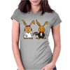Awesome Funny Bride and Groom Rabbit Cartoon Womens Fitted T-Shirt