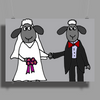 Awesome Funny Bride and Groom Sheep Wedding Cartoon Poster Print (Landscape)